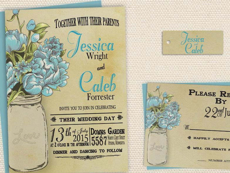 Hochzeit - Rustic Mason Jar Wedding Invitation, Spring Country Printable Wedding Invite Blue
