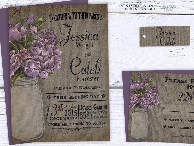 Purple Rustic Wedding Invitations: Rustic Mason Jar Wedding Invitation, Summer Printable