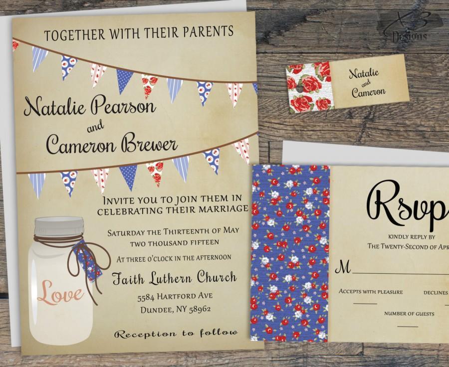 Wedding - Rustic Mason Jar Wedding Invitations