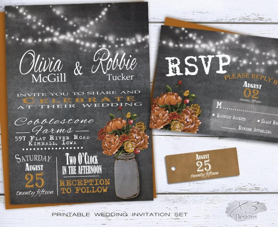 rustic mason jar wedding invitation, rustic fall wedding, Wedding invitations