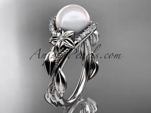 Wedding - Platinum diamond pearl unique engagement ring AP326