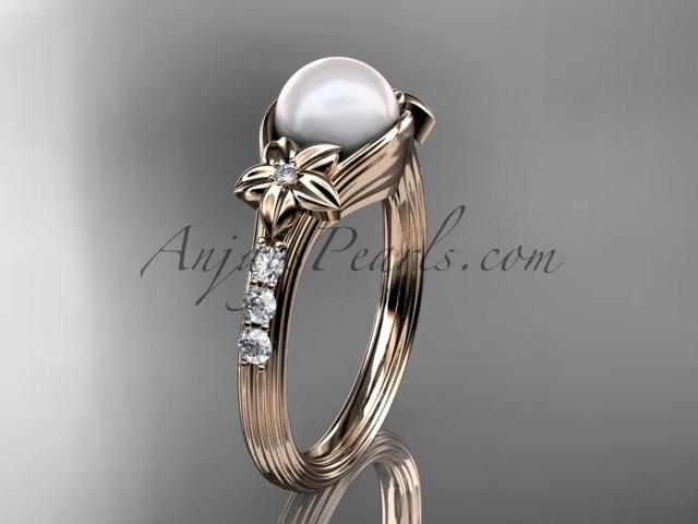 Wedding - 14kt rose gold diamond pearl unique engagement ring AP333