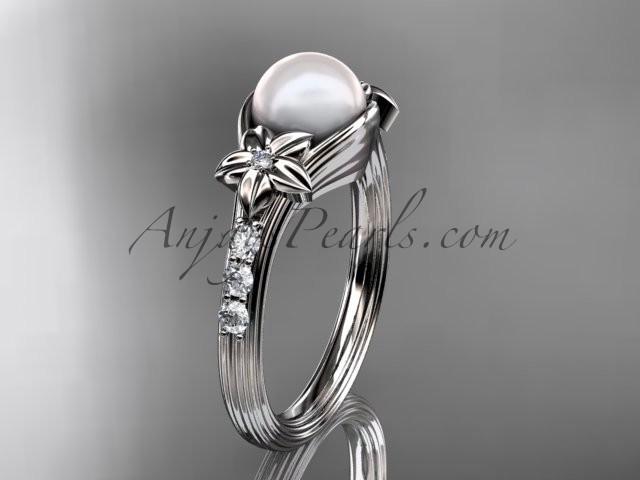 Свадьба - Platinum diamond pearl unique engagement ring AP333