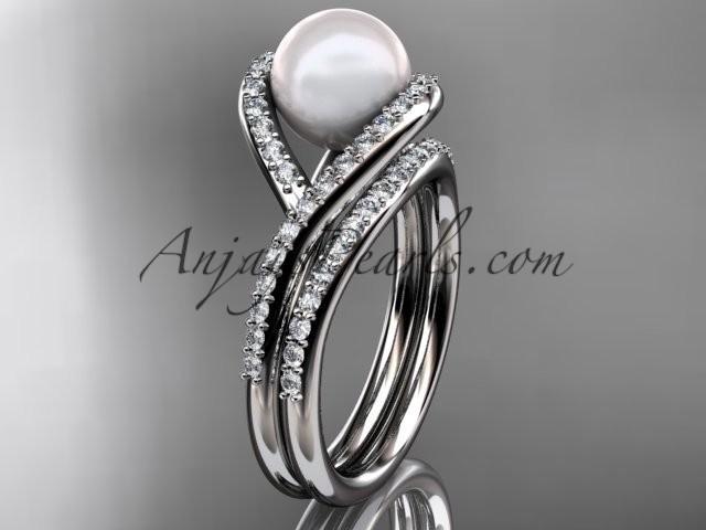 14kt White Gold Diamond Pearl Unique Engagement Set, Wedding Ring AP383S