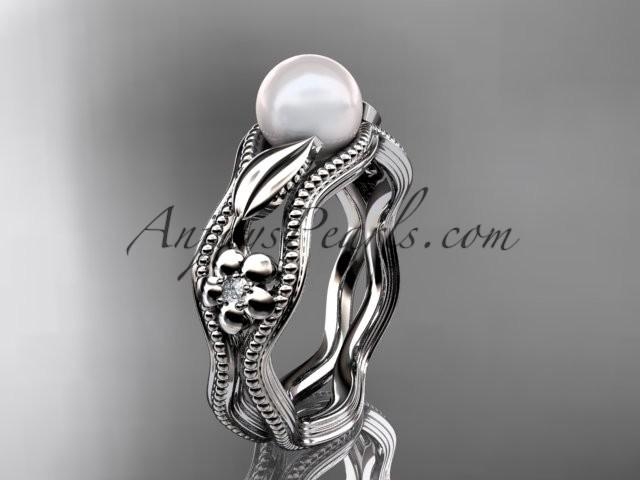 Wedding - 14kt white gold diamond pearl flower, leaf and vine engagement ring AP382