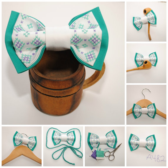 Hochzeit - Turquoise white EMBROIDERED bow tie Purple Pretied men's bow tie Groomsman bow tie Hand embroidered accessory Boyfriend gift Gifts for him