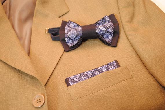 زفاف - Set of EMBROIDERED bow tie&pocket square Pretied bow tie Pre folded pocket square rectangular pocket square Navy blue bowties Men's bowtie