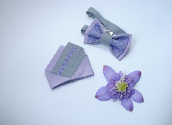 Matching Pocket Square And Bow Tie Grey Lilac Pretied Bow