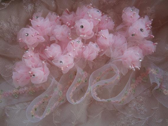 Mariage - 36 pc PINK Wired Organza Rose Rhinestone Beaded Flower Applique Bridal Wedding Bouquet