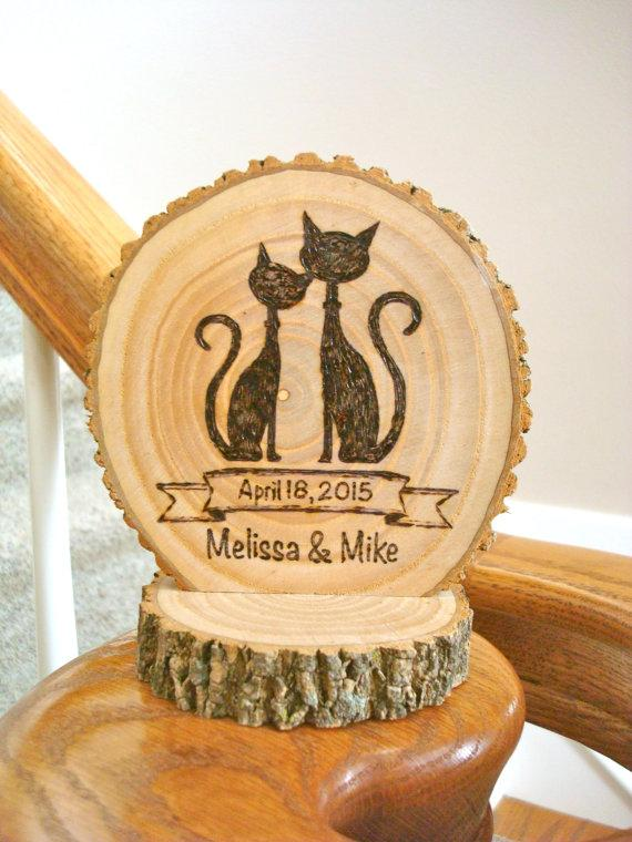 Wedding Cake Topper Rustic Wood Burned Cat Couple Personalized ...