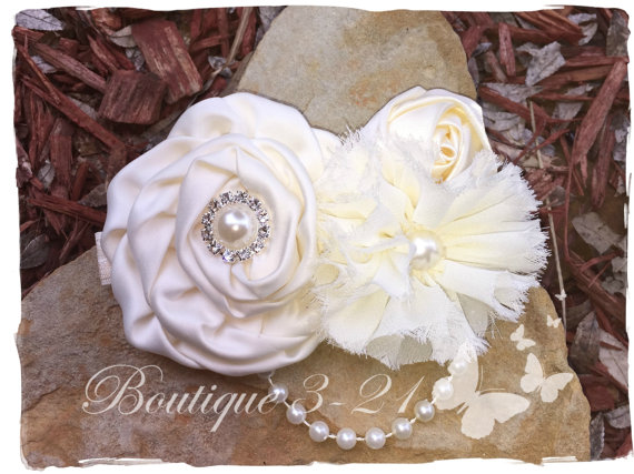 Mariage - Ivory Flower Girl Headband, White Flower Girl Headband, Ivory Headband, White Headband,