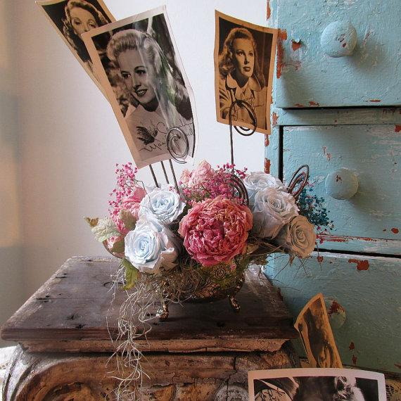 Mariage - Wire Photo holder shabby cottage chic message place card display silverplate table top bouquet roses and peony home decor anita spero design