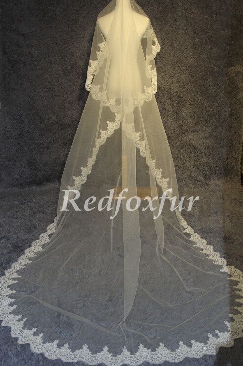 Mariage - 2014 new cathedral veil lace yarn, white ivory bridal veil, wedding accessories 3 meters long