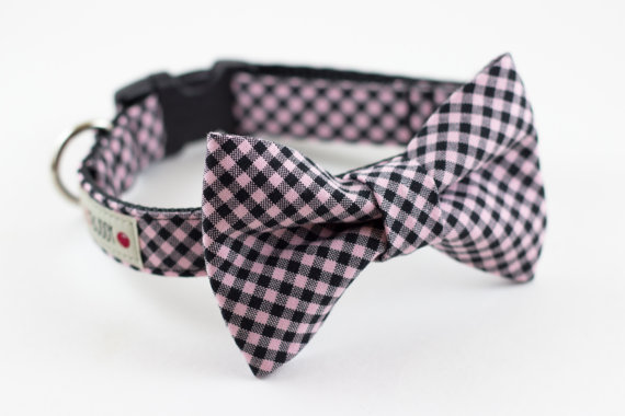 زفاف - Pink Black Gingham Dog Bow Tie Collar