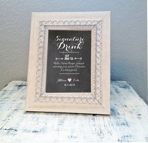Printable 8x10 Signature Drink Sign Personalized Tail Menu With Names And Wedding Date