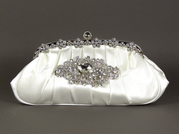 c2a59428b62 White Satin Wedding Bridal Clutch Vintage Style with Crystal Rhinestone  Brooch - Also Available in Ivory or Taupe