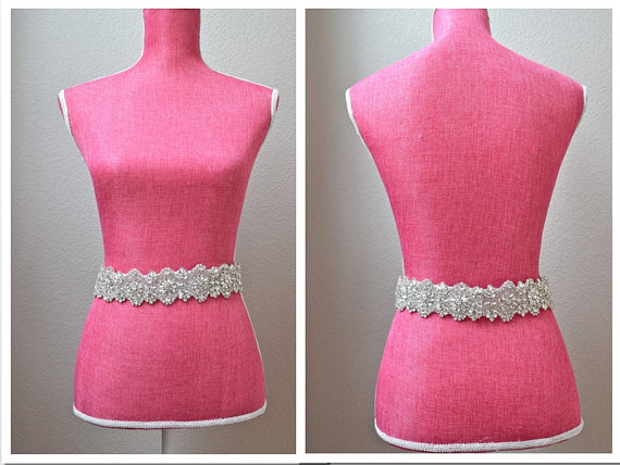 Mariage - Full Length Crystal Bridal Belt  - Clasp Closure with All-The-Way-Around Trim- EYM B020