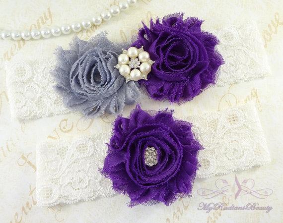 Свадьба - Bridal Garter, Garter, Wedding Garter, Gray Purple Shabby Garter, Chic Flower Garter, Sexy Garter, Handmade Garter, Lace Garter Set GTF0028P