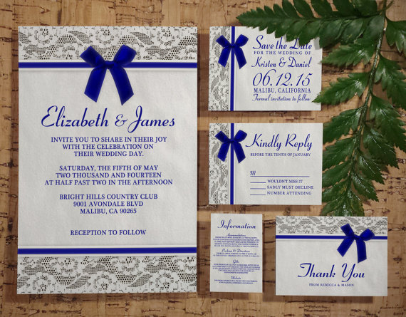 Royal Blue Country Lace Wedding Invitation Set Suite Invites Save The Date Rsvp Thank You Cards Info Printable Digital Pdf Printed
