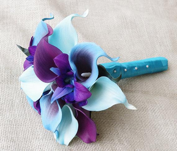 Mariage - Silk Flower Wedding Bouquet - Purple Blue Calla Lilies and Orchids Natural Touch Silk Bridal Bouquet