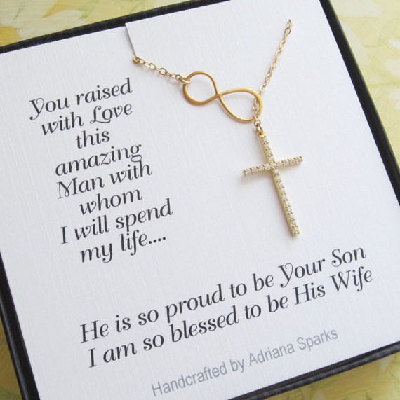 ... , Thank you Mom card, gift for mother of the Groom/Cross Necklace