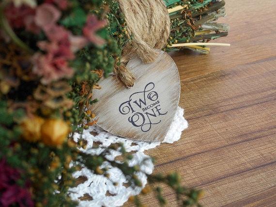 Свадьба - Wedding Bouquet Charm Two Become One Wedding Bouquet Charm Rustic Wedding Flower Bouquet Charm Heart Bouquet Charm