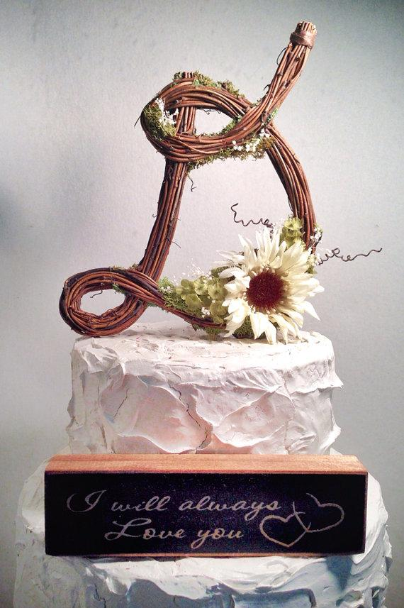 Cake - Letter D Rustic Twig Wedding Cake Topper #2344622 ...