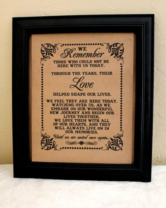 Mariage - 8 x 10 SIGN We Remember Those - Loved Ones/ Remembrance / In Memory Of - Wedding Sign -Single Sheet (Style: REMEMBER)