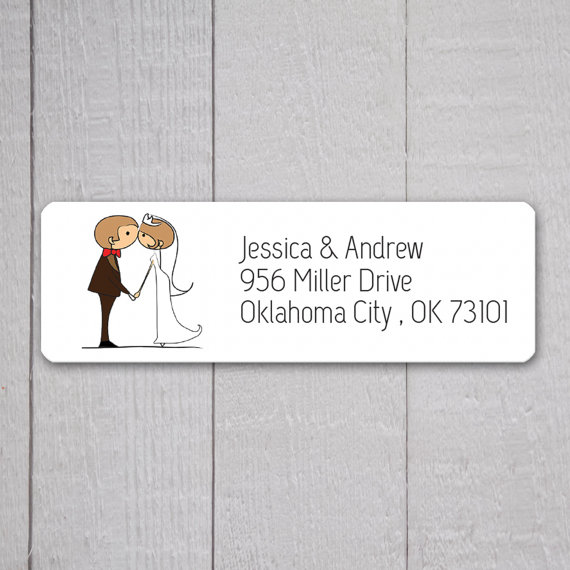 زفاف - Bride & Groom Return Address Labels, Wedding Stickers, Return address stickers for invitations (#319)