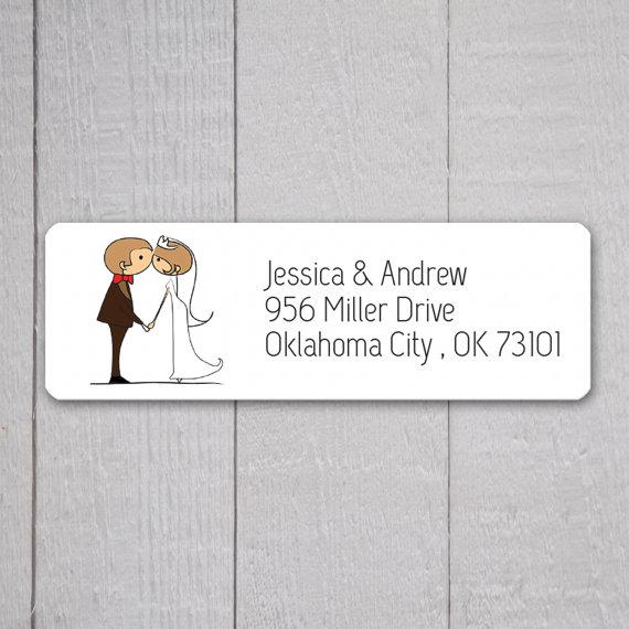 Bride & Groom Return Address Labels, Wedding Stickers, Return ...
