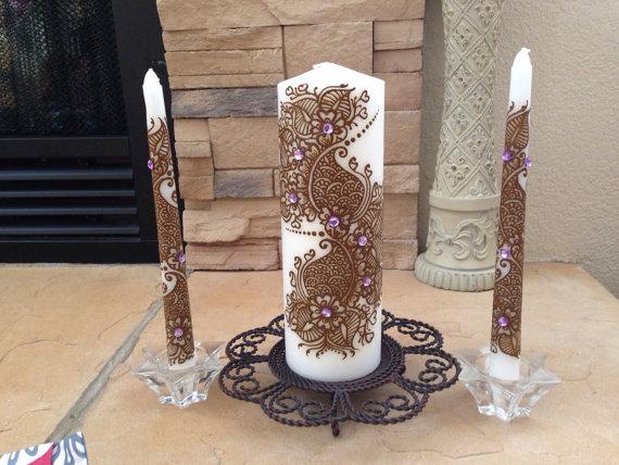 Wedding - Wedding Unity Candle Set,Pillar Candle with Henna Design Hand painted, Modern Candle Art