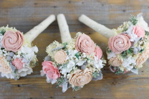 Romantic Wedding Bouquet Bridesmaids Blush PinkDusty PinkPeach Sola Flower BouquetKeepsakeAlternative