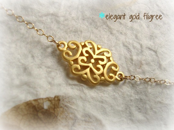 Wedding - golden scroll - dainty elegant gold filigree necklace - small and simple jewelry - bridal