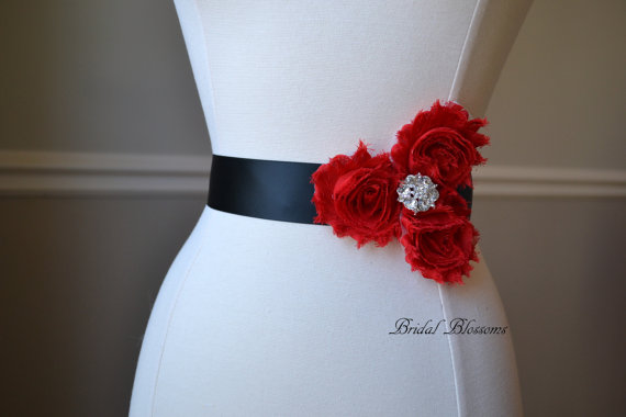 Свадьба - LORYN Red Black Vintage Inspired Bridal Sash