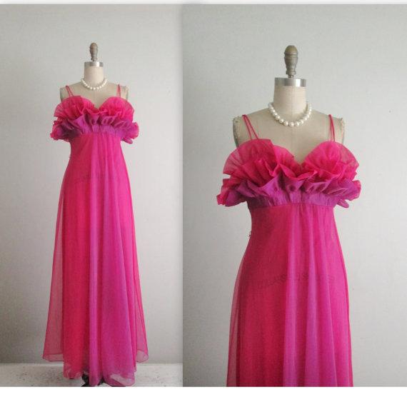 Hochzeit - 50's Vanity Far Nightgown // Vintage 1950's Pink & Violet Ruffled Nylon Goddess Slip Gown 34 S