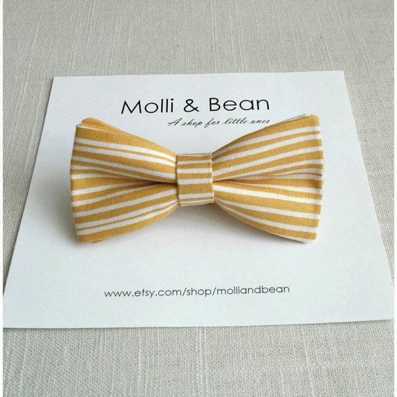 Wedding - SALE!...The Rowan - Baby, Newborn, Toddler, Kids, Boys bow tie, Wedding bow tie, Ring bearer bow tie, Yellow bow tie, Stripe tie