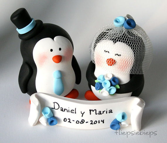 زفاف - Customise Penguin Wedding Cake Topper