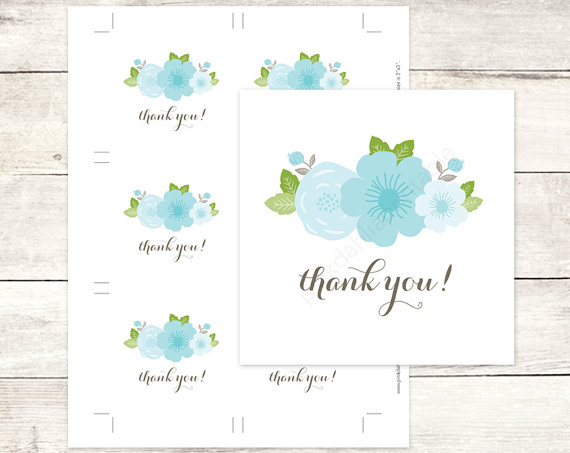 blue green floral flowers bouquet bridal shower favor tags wedding favor tags bridal shower thank you cards instant download