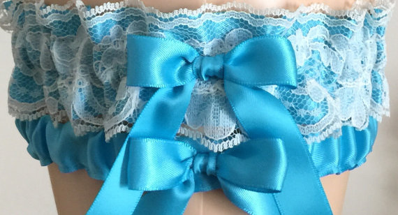 Hochzeit - Turquoise Satin and Lace Wedding Garter Set, Bridal Garter, Prom Garter, Lace Garter, Keepsake Garter