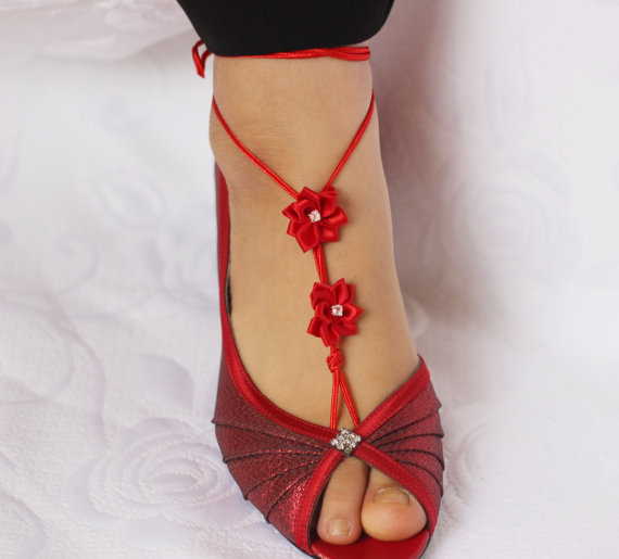 Wedding - Red Barefoot Sandals, Wedding party shoes-Bridal Foot jewelry-Wedding Accessory-Bridal shoes-footless sandals
