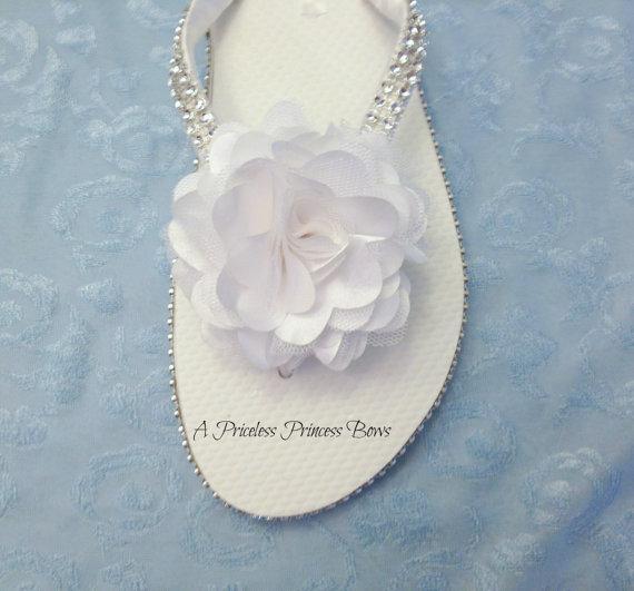 Wedding - Bridal Flip Flops, Flower Wedding Flip Flops, Bling Flip Flops, Brides Sandals, Bridesmaid Flip Flops, Flower Girl Beach Rhinestones