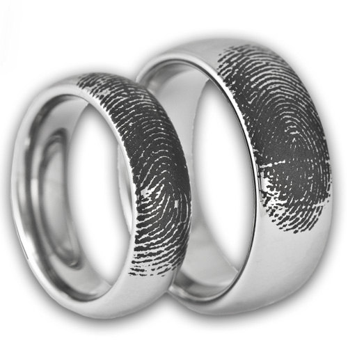 S Custom Engraved Tungsten Fingerprint Rings His And Hers Matching Wedding Bands Personalized Also Available In Gold Rose Color