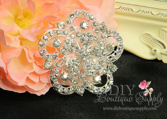 Mariage - Rhinestone Brooch Embellishment Crystal Wedding Supply Brooch Bouquet Bridal Wedding Accessories Button Flatback Large 60mm 001205