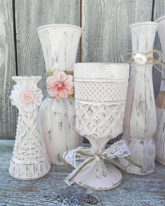 Was Ist Shabby Chic burlap and lace pink shabby chic vase collection wedding vase decor