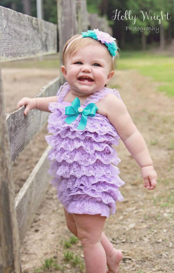 Mariage - Lavender & Aqua Petti Lace Romper and Headband set,Birthday,flower girl,ballerina,newbornphoto prop,infant, toddler, girl