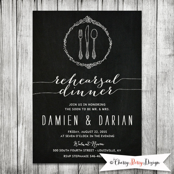 زفاف - Chalkboard Wedding Rehearsal Invite- Dinner Invitation - Invitation DIY Printable - Wedding Invite - 5x7 JPG
