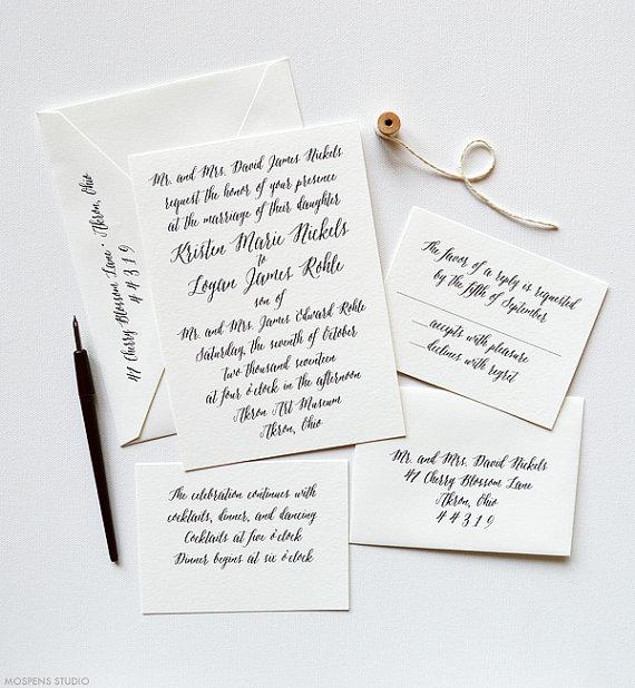 Classic Wedding Invitations Letterpress Wedding Invitation Sample