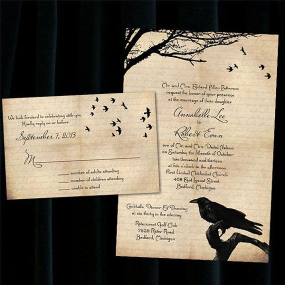 Custom Raven Halloween Wedding Invitations 2344746 Weddbook