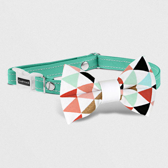 زفاف - Carrie Turquoise ••• Bow Tie Cat Collar, Cat Collar, Breakaway Collar, Dog Bow Tie