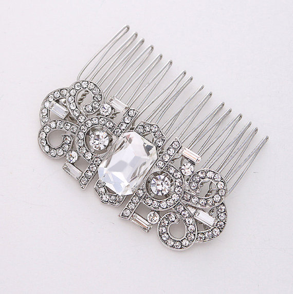 Mariage - Art Deco Hair Comb Rhinestone Silver Comb Bride Hair Piece Gatsby Old Hollywood Wedding Hair Combs Bridal Jewelry Art Deco Bridal Accessory